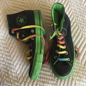 Converse Black and Green Hightops